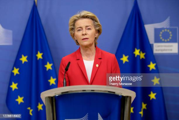 Cmmission President Ursula von der Leyen talks to the media in the Berlaymont, the EU Commission headquarter on Pctber 1 in Brussels, Belgium. The...