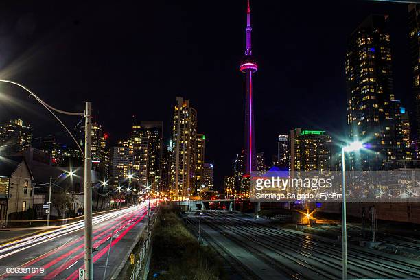 Cn Tower Against Sky In Illuminated City At Night