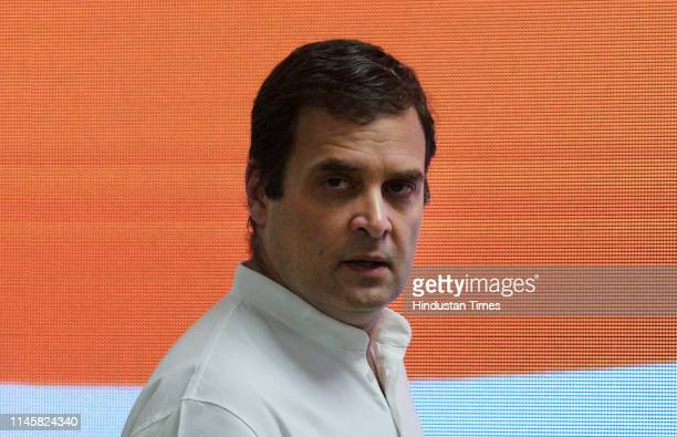 Cngress President Rahul Gandhi at a press conference after parties worstperformance in the 2019 elections on May 23 2019 in New Delhi India Congress...