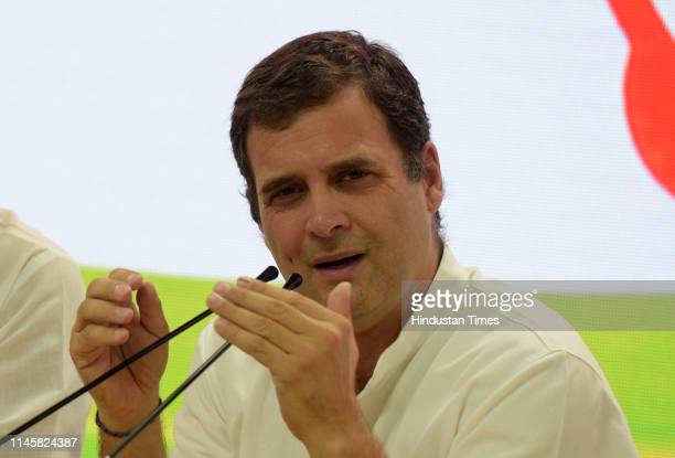 Cngress President Rahul Gandhi at a press conference after parties worst-performance in the 2019 elections on May 23, 2019 in New Delhi, India....