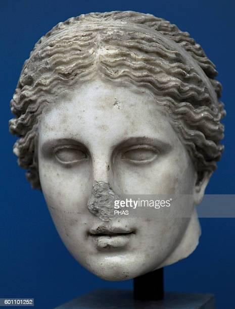 Cnidus Aphrodite Marble sculpture Roman copy of the 4th century BC Greek original by Praxiteles From Rome 2nd century AD Ny Carlsberg Glyptotek...