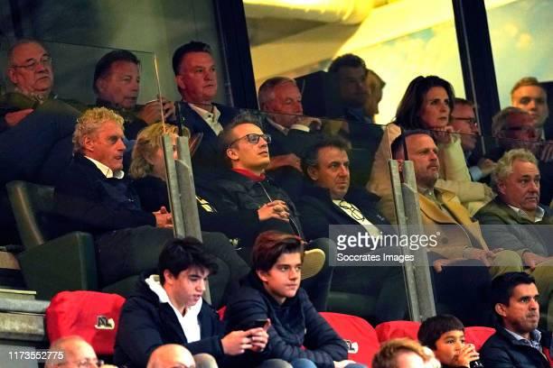Co Adriaanse, Louis van Gaal, Kees Kist, John van den Brom, Marco Borsato during the UEFA Europa League match between AZ Alkmaar v Manchester United...