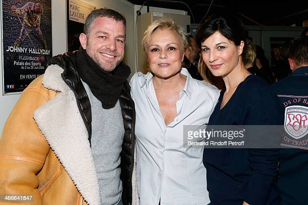 Co CEO of Cacharel Jacques Bungert Muriel Robin and actress Helene Medigue pose after the 'Robin Revient Tsointsoin ' Muriel Robin final show at...