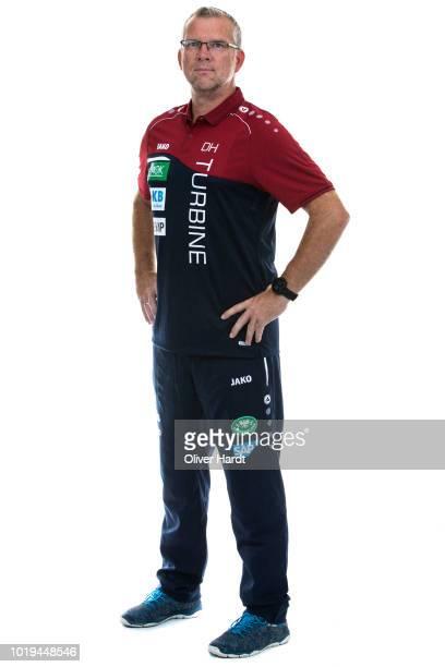Co Coach Dirk Heinrichs of Turbine Potsdam poses during the Allianz Frauen Bundesliga Club Tour at on August 17 2018 in Potsdam Germany