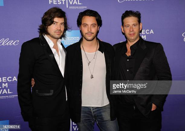 """Co director Victor Kubicek, Jack Huston and co director Derek Anderson attend the screening of """"In God We Trust"""" during the 2013 Tribeca Film..."""