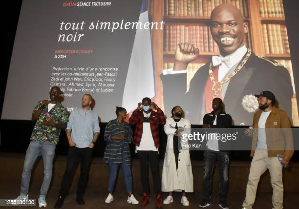Co directors JeanPascal Zadi John Wax comedians Fadily Camara Ahmed Sylla Fary Moussa Mansaly and Fabrice Eboue attend a screening of Tout Simplement...
