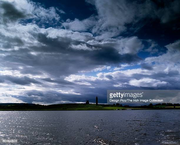 co fermanagh, devenish island on lough erne,  monastic settlement, ireland - irish round tower stock photos and pictures