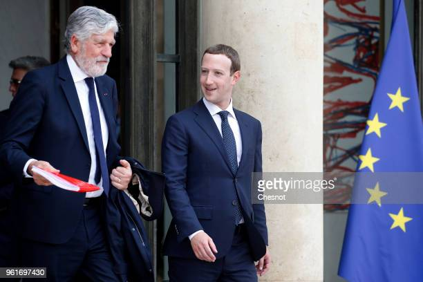 Co founder of Viva Technology Maurice Levy and Facebook's CEO Mark Zuckerberg leave the Elysee Presidential Palace after the 'Tech for Good' Summit...