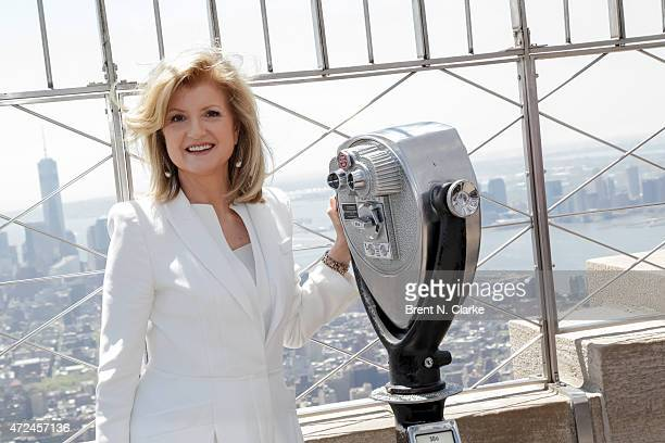 Co founder/editorin chief of The Huffington Post Arianna Huffington poses for photographs at The Empire State Building in celebration of The...