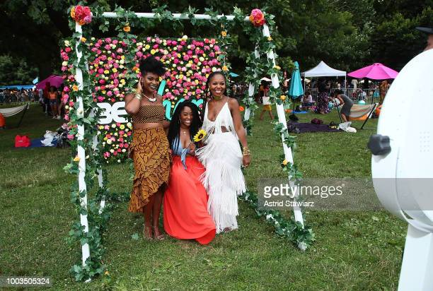 Co founders of Curly Girl Collective Charisse Higgins actress Shelah Marie and Gia Lowe attend Curlfest 2018 at Prospect Park on July 21 2018 in New...
