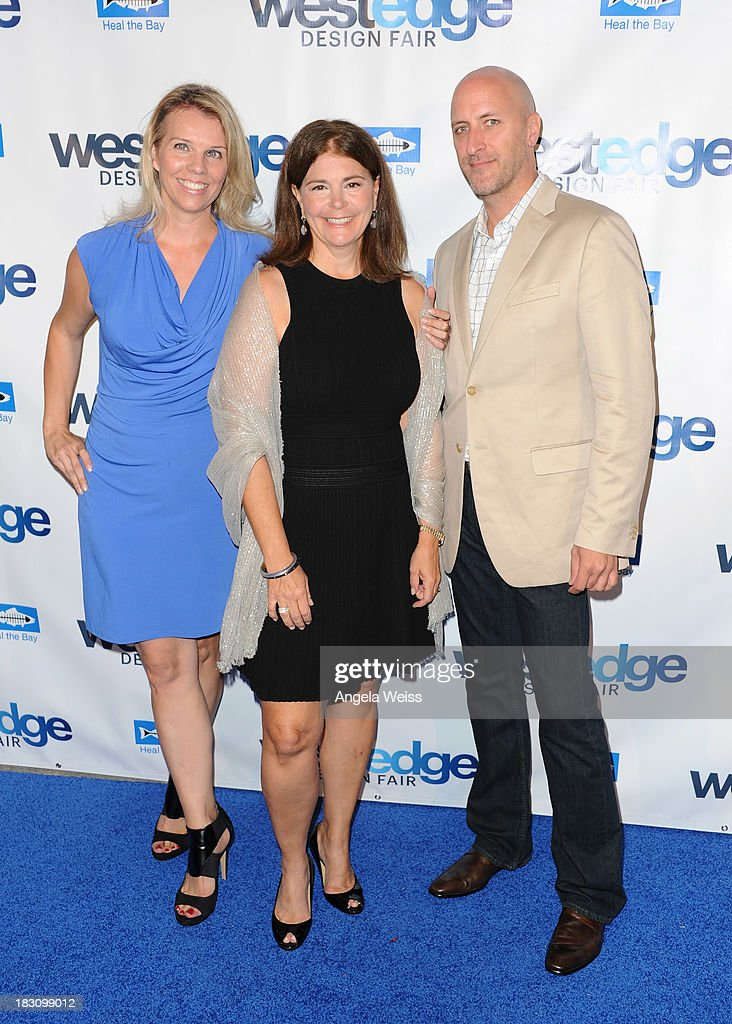 Co Founders WestEdge Design Fair Megan Reilly and Troy Hanson with Editor in Chief of Coastal Living Antonia van der Meer (C) attend the WestEdge Design Fair opening night benefiting Heal the Bay at Barker Hangar on October 3, 2013 in Santa Monica, California.