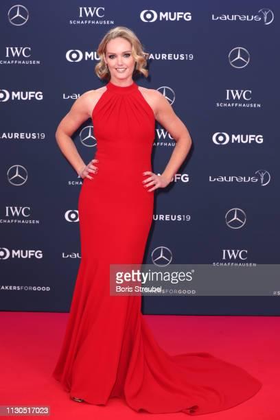Co Host Amanda Davies arrives for the 2019 Laureus World Sports Awards on February 18 2019 in Monaco Monaco