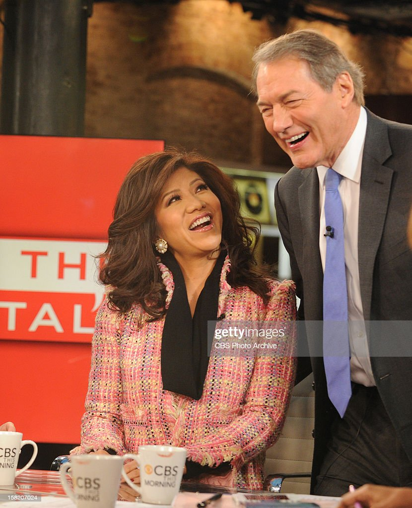 Co host of The Talk Julie Chen visits CBS This Morning with co-host Charlie Rose on Monday, Dec. 20, 2012 on the CBS Television Network.