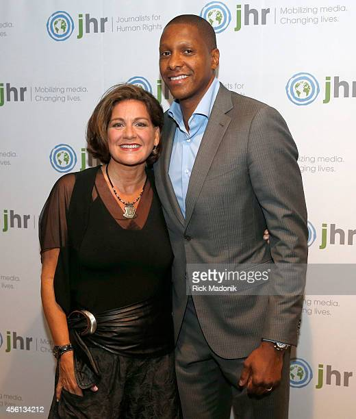 TORONTO SEPTEMBER 25 Co hosts for the night Lisa LaFlamme and Masai Ujiri at Journalism for Human Rights Dinner praises globally influential human...