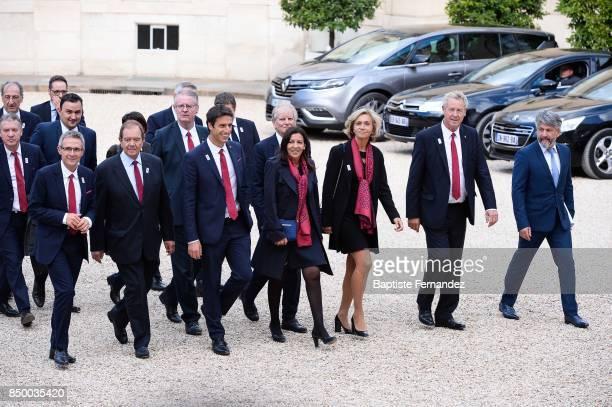 Co President of the Paris 2024 bid Bernard Lapasset France delegate to the International Olympic Committee Guy Drut President of the French Olympic...