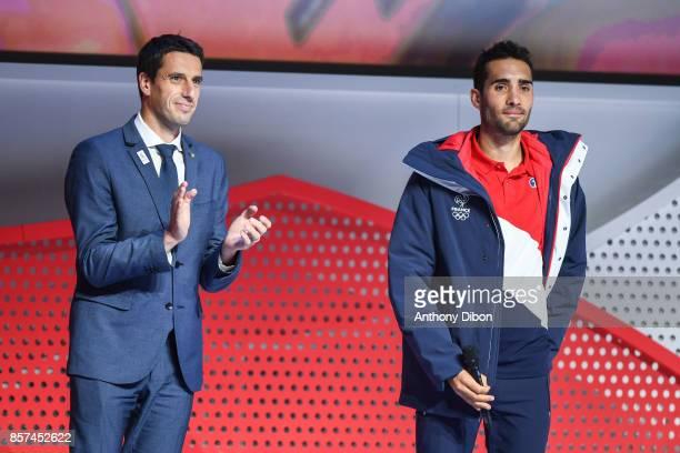 Co President of the Paris 2024 bid Tony Estanguet and Martin Fourcade flag bearer for team France during presentation of Team France for Winter Games...