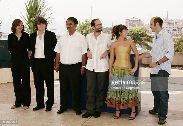 Co producer Philippe Bober actor Marcos Hernandez actor Carlos Reygadas and actress Anapola Mushkadiz attend a photocall promoting the film Batalla...