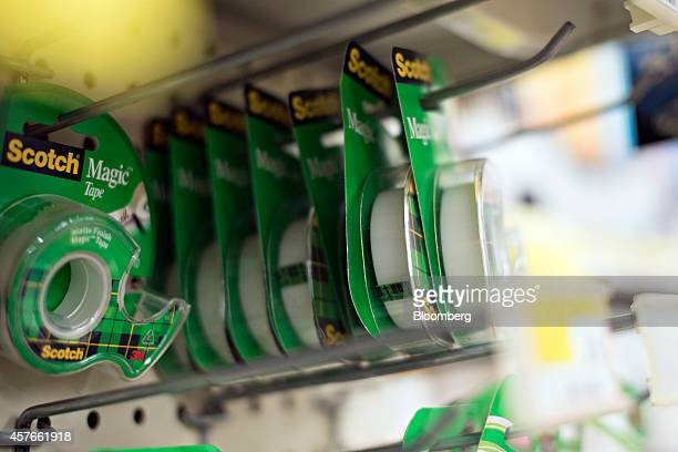 3M Co Scotch brand tape hangs on display for sale at a supermarket in Princeton Illinois US on Tuesday Oct 21 2014 3M Co is scheduled to report...