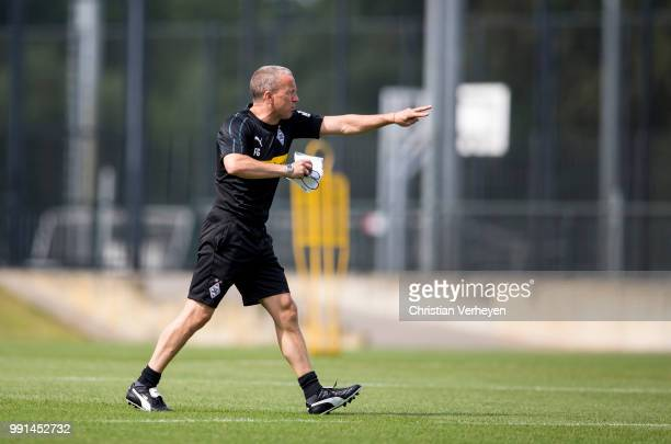 Co Trainer Frank Geideck gives instructions during a training session of Borussia Moenchengladbach at BorussiaPark on July 04 2018 in...