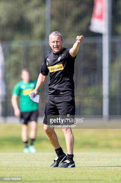 Co Trainer Frank Geideck in action during a training session of Borussia Moenchengladbach at BorussiaPark on July 17 2018 in Moenchengladbach Germany