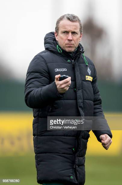 Co Trainer Frank Geideck of Borussia Moenchengladbach during a training session of Borussia Moenchengladbach at BorussiaPark on March 27 2018 in...