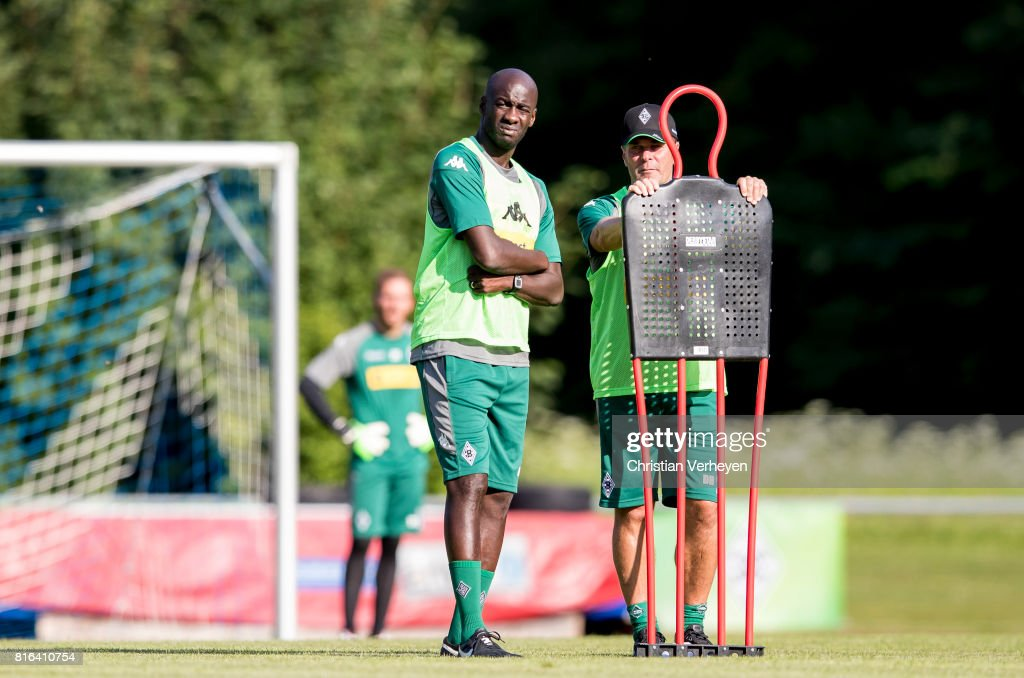 Co- Trainer Otto Addo and Head Coach Dieter Hecking of Borussia Moenchengladbach during a training session at the Training Camp of Borussia Moenchengladbach on July 17, 2017 in Rottach-Egern, Germany.