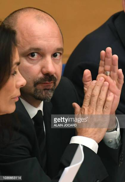 Coaccused Vincent Crase a security agent employed by the French President's centrist La Republique en Marche party appears at a Senate committee...