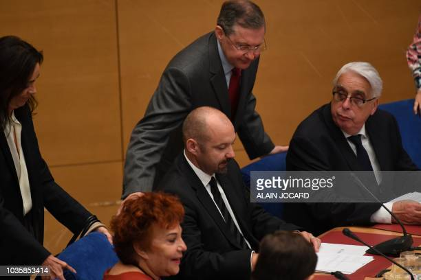 Coaccused Vincent Crase a security agent employed by the French President's centrist La Republique en Marche party sits next to rapporteur JeanPierre...