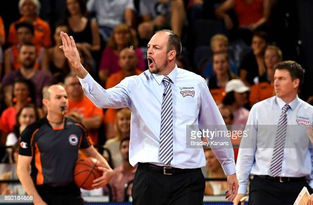 Coach Aaron Fearne of the Taipans shows his disappointment at the referee during the round 10 NBL match between the Cairns Taipans and the Brisbane...