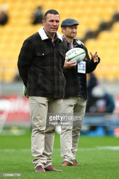 Coach Aaron Mauger and Assistant Coach Tony Brown of the Highlanders look on during the round 5 Super Rugby Aotearoa match between the Hurricanes and...
