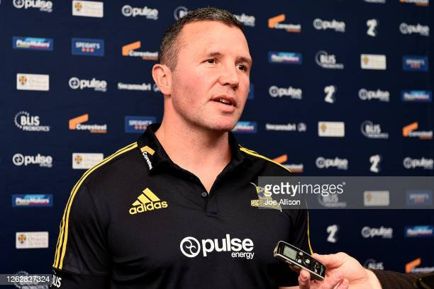 Coach Aaron Mauger answers questions from media prior to a Highlanders Super Rugby training session at Forsyth Barr Stadium on July 31 2020 in...