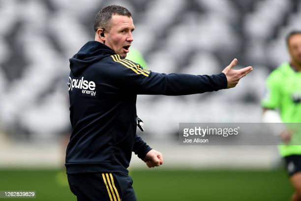 Coach Aaron Mauger instructs play during a Highlanders Super Rugby training session at Forsyth Barr Stadium on July 31 2020 in Dunedin New Zealand