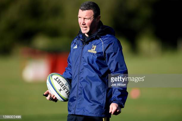 Coach Aaron Mauger watches on during a Highlanders Super Rugby training session at Hancock Park on July 10 2020 in Dunedin New Zealand