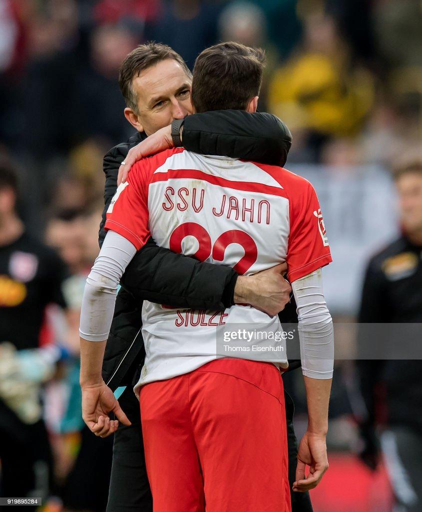 Coach Achim Beierlorzer (L) and Sebastian Stolze of Regensburg react after the Second Bundesliga match between SG Dynamo Dresden and SSV Jahn Regensburg at DDV-Stadion on February 18, 2018 in Dresden, Germany.