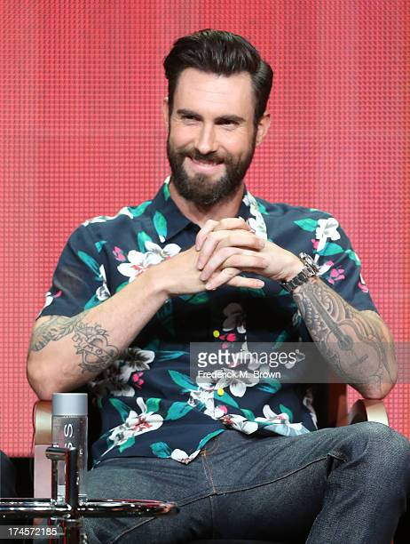 Coach Adam Levine speaks onstage during 'The Voice' panel discussion at the NBC portion of the 2013 Summer Television Critics Association tour Day 4...