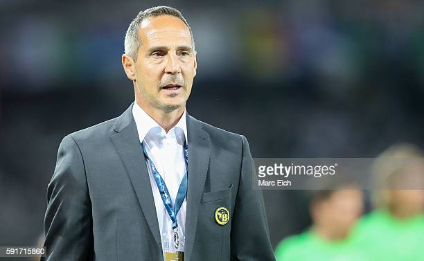 Coach Adi Huetter of Young Boys Bern during the Champions League Playoff match between Young Boys Bern and Borussia Moenchengladbach at Stade de...