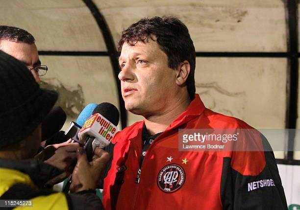 Coach Adilson Batista of Atletico PR before a match as part of Brazilian Championship Serie A at Carinde Stadium on June 4 2011 in Sao Paulo Brazil