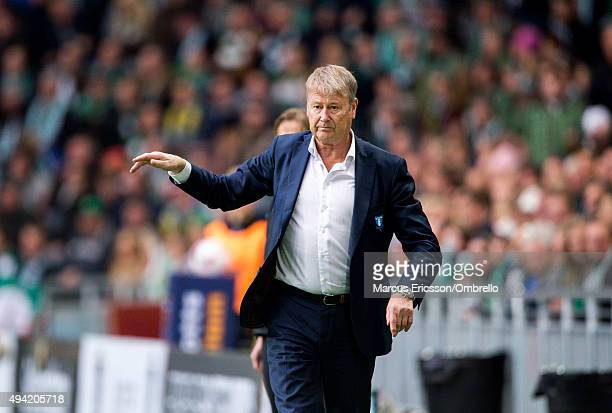 Coach Age Hareide of Malmo FF during the Allsvenskan match between Hammarby IF and Malmo FF at Tele2 Arena on October 25 2015 in Stockholm Sweden