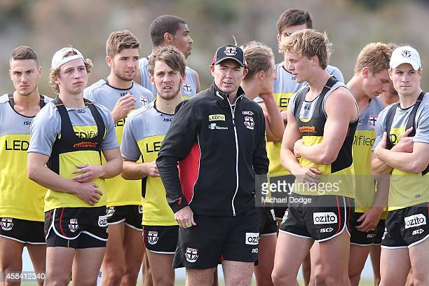Coach Alan Richardson looks ahead during a StKilda Saints AFL training session at Linen House Oval on November 5 2014 in Melbourne Australia