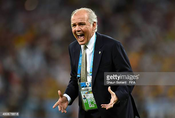 Coach Alejandro Sabella of Argentina reacts during the 2014 FIFA World Cup Brazil Group F match between Argentina and Bosnia-Herzegovina at Maracana...