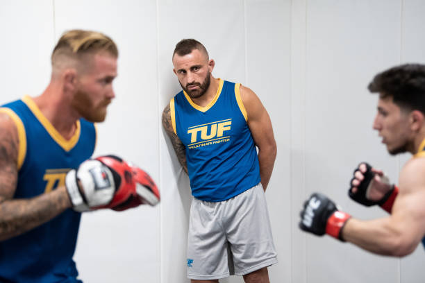Coach Alexander Volkanovski looks on backstage during the filming of the The Return of The Ultimate Fighter at UFC APEX on April 29, 2021 in Las...