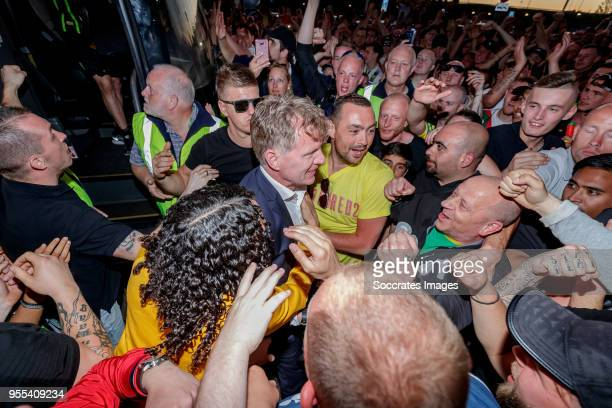 coach Alfons Groenendijk of ADO Den Haag arrives at the stadium after the victory and qualification for the play offs during the Dutch Eredivisie...