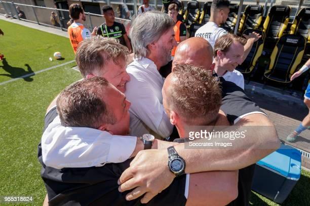 coach Alfons Groenendijk of ADO Den Haag assistant trainer Dirk Heesen of ADO Den Haag assistant trainer Edwin de Graaf of ADO Den Haag during the...