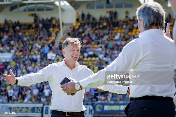 coach Alfons Groenendijk of ADO Den Haag celebrates the victory and the qualification for the Play Offs during the Dutch Eredivisie match between...