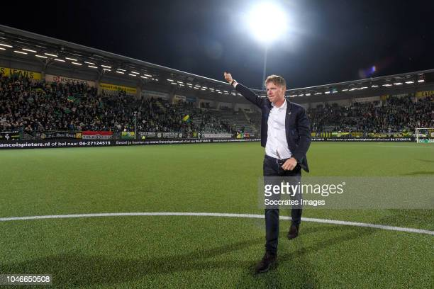 coach Alfons Groenendijk of ADO Den Haag celebrates the victory during the Dutch Eredivisie match between ADO Den Haag v FC Groningen at the Cars...