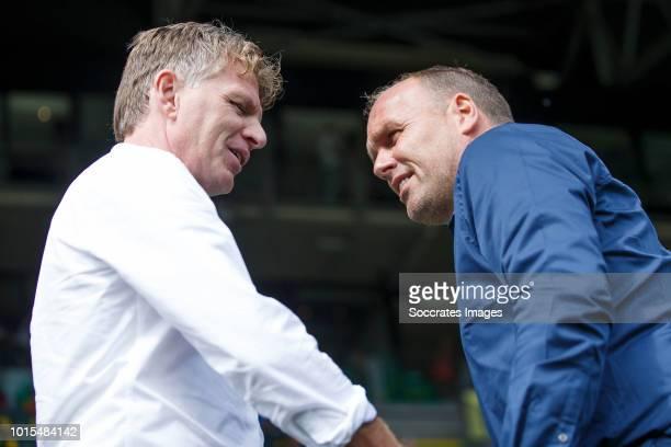 coach Alfons Groenendijk of ADO Den Haag coach Dick Lukkien of FC Emmen during the Dutch Eredivisie match between ADO Den Haag v FC Emmen at the Cars...