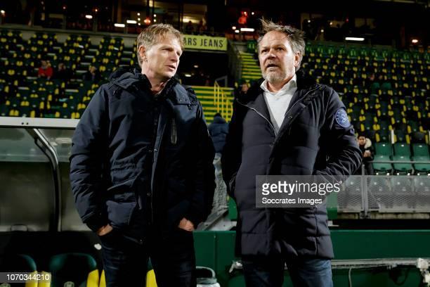 coach Alfons Groenendijk of ADO Den Haag coach Henk de Jong of De Graafschap during the Dutch Eredivisie match between ADO Den Haag v De Graafschap...