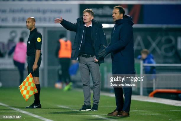 coach Alfons Groenendijk of ADO Den Haag coach John van t Schip of PEC Zwolle during the Dutch Eredivisie match between PEC Zwolle v ADO Den Haag at...