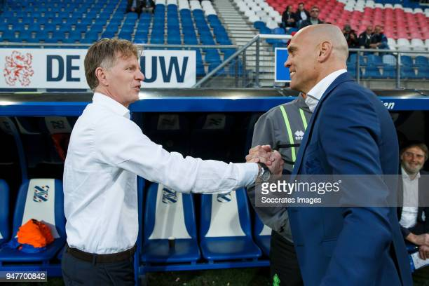 coach Alfons Groenendijk of ADO Den Haag coach Jurgen Streppel of SC Heerenveen during the Dutch Eredivisie match between SC Heerenveen v ADO Den...