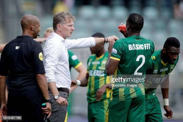 coach Alfons Groenendijk of ADO Den Haag Dion Malone of ADO Den Haag Wilfried Kanon of ADO Den Haag during the Dutch Eredivisie match between ADO Den...